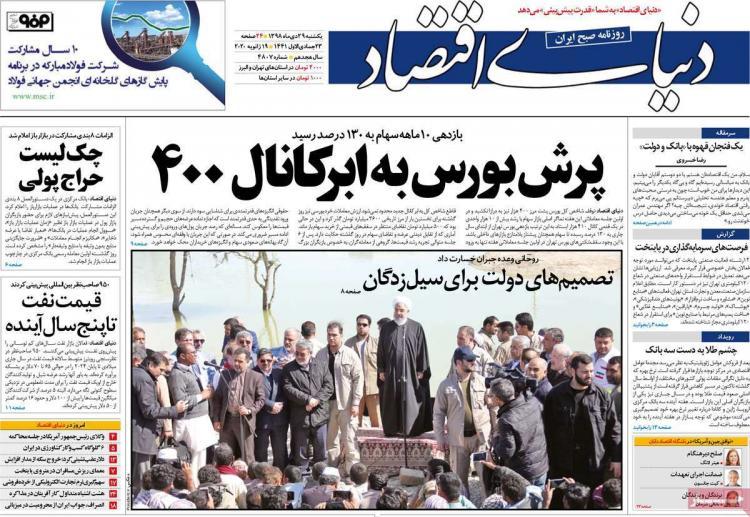 تیتر روزنامه های اقتصادی یکشنبه بیست و نهم دی ۱۳۹۸,روزنامه,روزنامه های امروز,روزنامه های اقتصادی