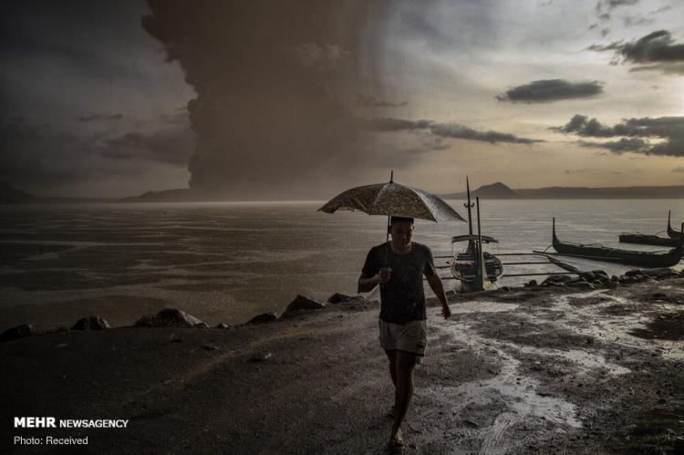 تصاویر فوران آتشفشان در فیلیپین,عکس های فوران آتشفشان در فیلیپین,تصاویربارش خاکستر آتشفشان