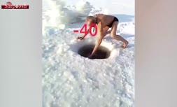 فیلم/ مردی که از خرس قطبی هم نسبت به سرما مقاومتر است