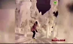 فیلم/ متفاوتترین اسکی روی برف در شب سال نو