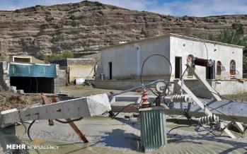 تصاویر سیل در بلوچستان,عکس های خسارت سیل به روستاهای بلوچستان,تصاویر تخریب منازل در شهرستان جاسک