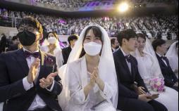 تصاویر مراسم ازدواج دستهجمعی در کرهجنوبی,عکس های مراسم ازدواج دستهجمعی در کرهجنوبی,تصاویر ازدواج دستهجمعی در سایه ویروس کرونا