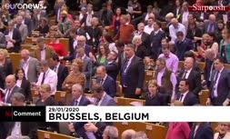 فیلم/ بازخوانی احساسی ترانه «وداع» در پارلمان اتحادیه اروپا