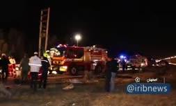 فیلمی از واژگونی اتوبوس در اصفهان با 10 کشته
