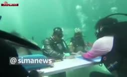 فیلم/ جشن ازدواج زوج تایلندی در زیر آب!