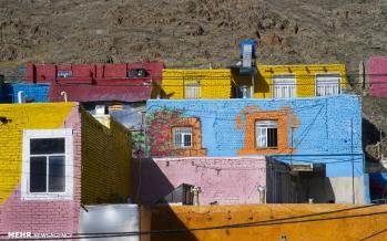 تصاویر خانههای رنگارنگ در اراک,عکس های خانههای رنگارنگ در اراک,تصاویر دیوارهای منازل مسکونی شهر اراک