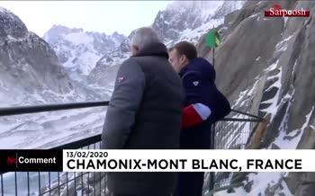 فیلم/ کوهنوردی رئیس جمهور فرانسه در ارتفاعات آلپ