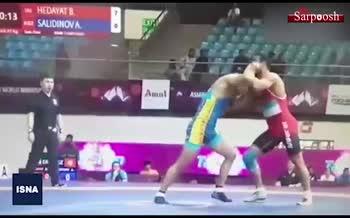 فیلم/ اقدام مشکوک کشتی گیر ایران در قهرمانی آسیا