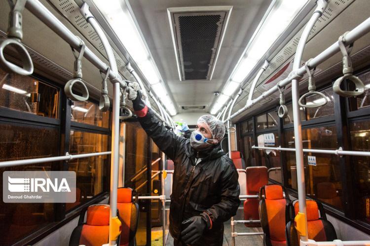 تصاویر ضدعفونی کردن اتوبوسهای پایتخت,عکس های ضدعفونی کردن اتوبوسهای پایتخت,تصاویر روش پیشگیری از ابتلا به کرونا در تهران