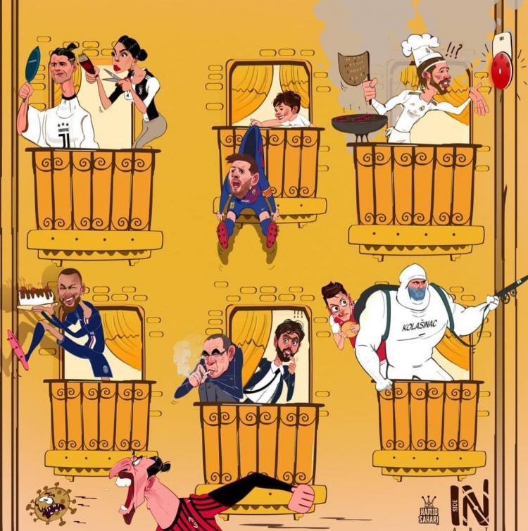 کاریکاتور ستارههای فوتبال در قرنطینه,کاریکاتور,عکس کاریکاتور,کاریکاتور ورزشی