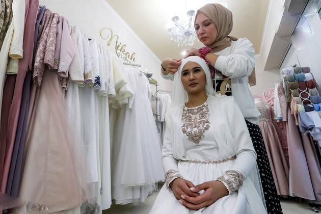 تصاویر مراسم جشن عروسی زوج تاتار,عکس های زوج تاتار,تصاویر زوج تاتار در قازان
