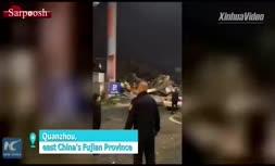 فیلم/ فرو ریختن هتلی در جنوبشرق چین
