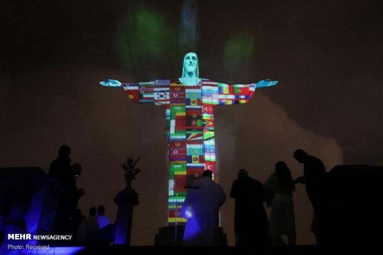 تصاویر نورپردازی سه بعدی در کشورهای مختلف,عکس های نورپردازی سه بعدی در کشورهای مختلف,تصاویر نماد همدردی کشورهای درگیر با کرونا