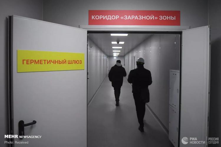 تصاویر افتتاح بیمارستان بیماریهای عفونی در مسکو,عکس های افتتاح بیمارستان بیماریهای عفونی در مسکو,تصاویر بیمارستان جدید برای بیماران مبتلا به کرونا