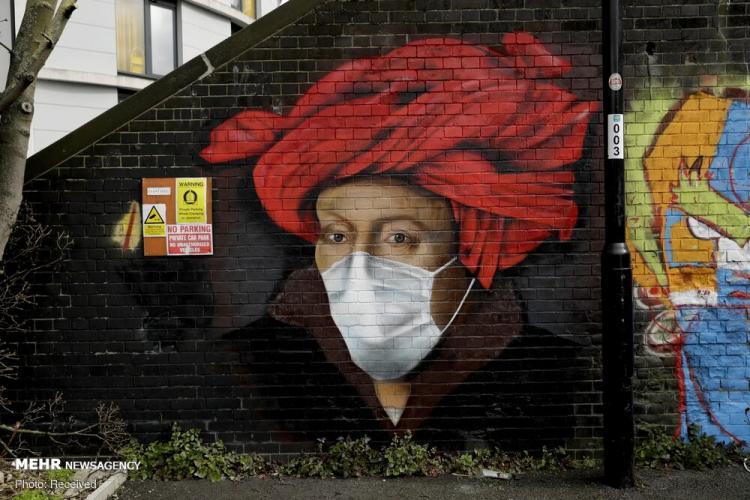 تصاویر نقاشی دیواری با موضوع کرونا,عکس های نقاشی های دیواری,تصاویر روزهای کرونایی