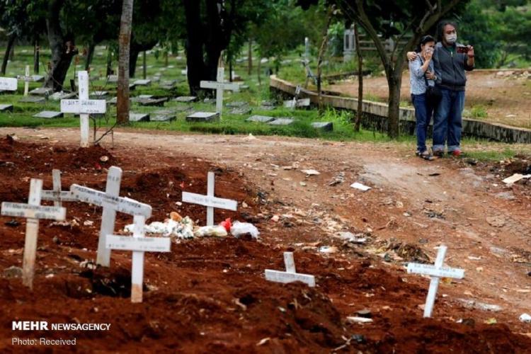 تصاویر دفن قربانیان کرونا در نقاط مختلف جهان,عکس های دفن قربانیان کرونا در نقاط مختلف جهان, تصاویر قربانیان کرونا