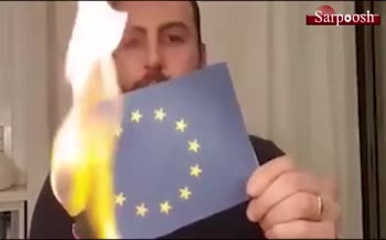 فیلم/ آتش زدن پرچم اتحادیه اروپا توسط مردم ایتالیا