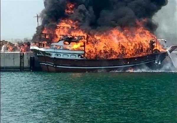 آتش سوزی سه فروند لنج صیادی,اخبار حوادث,خبرهای حوادث,حوادث امروز
