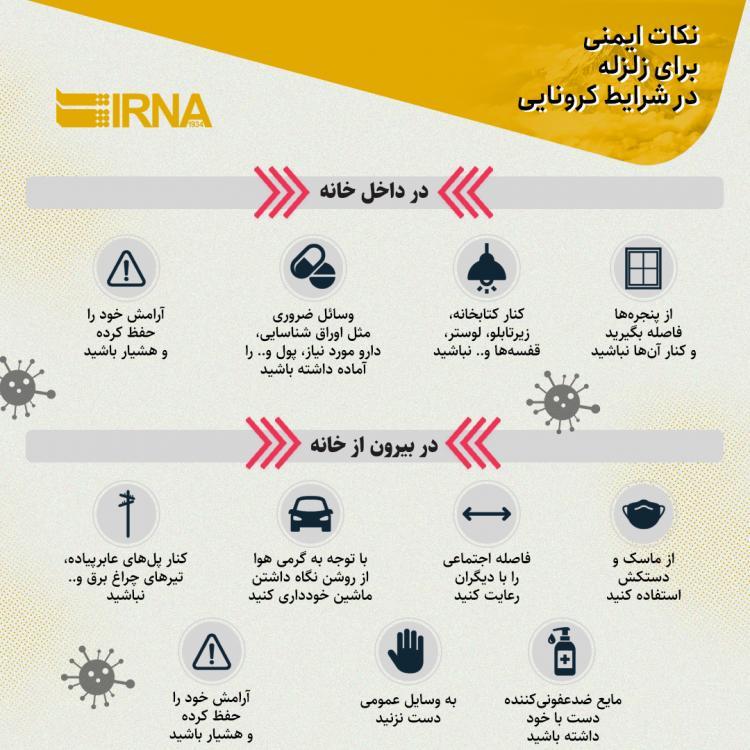 اینفوگرافیک در مورد توصیههایی برای هنگام وقوع زلزله در شرایط شیوع کرونا