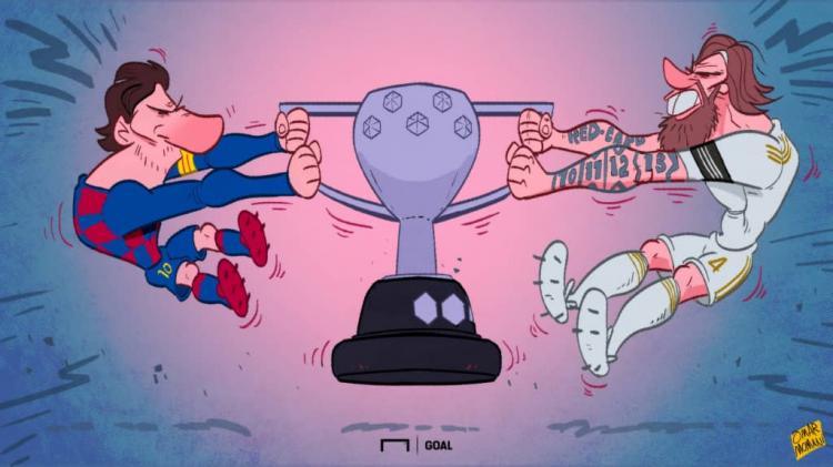 کاریکاتور دعوای مسی و راموس در لالیگا,کاریکاتور,عکس کاریکاتور,کاریکاتور ورزشی