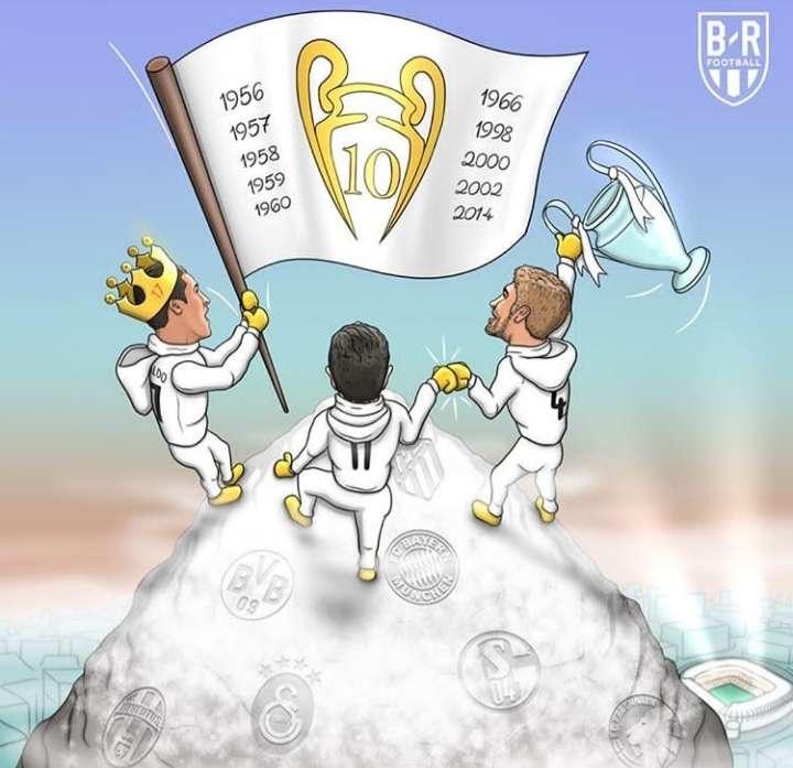 کاریکاتور در مورد دهمین قهرمانی رئال مادرید در لیگ قهرمانان اروپا,کاریکاتور,عکس کاریکاتور,کاریکاتور ورزشی