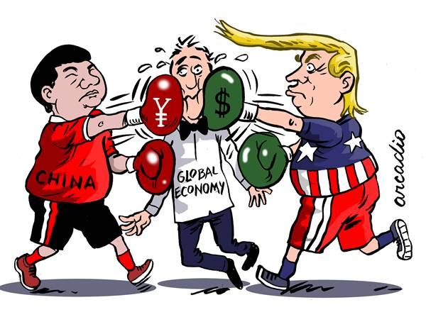 کاریکاتور در مورد روابط اقتصادی آمریکا و چین