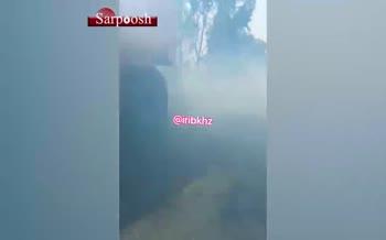 فیلم/ تصادف زنجیرهای در جاده ترانزیتی شوش - اهواز به دلیل دود آتش سوزی مزارع