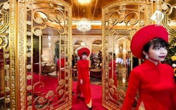 تصاویر هتل با روکش طلا در ویتنام,عکس های هتل طلایی در ویتنام,تصاویر هتلی از طلا در ویتنام