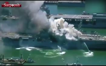 فیلم/ انفجار و آتشسوزی در کشتی جنگی نیروی دریایی آمریکا در بندر سن دیگو؛ 18 نفر مجروح شدند