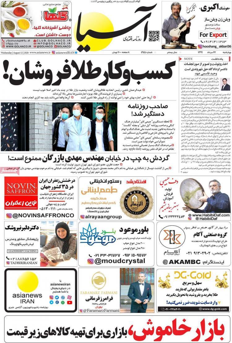 عناوین روزنامه های اقتصادی چهارشنبه 22 مرداد 1399,روزنامه,روزنامه های امروز,روزنامه های اقتصادی