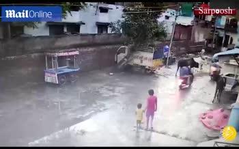 فیلم/ حمله وحشتناک یک گاو به کودک هندی