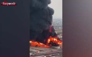 فیلم/ آتش سوزی مهیب در بازار شهر «عجمان» در امارات متحده عربی