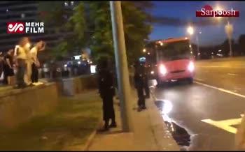 فیلم/ درگیری پلیس با معترضان نتیجه انتخابات بلاروس