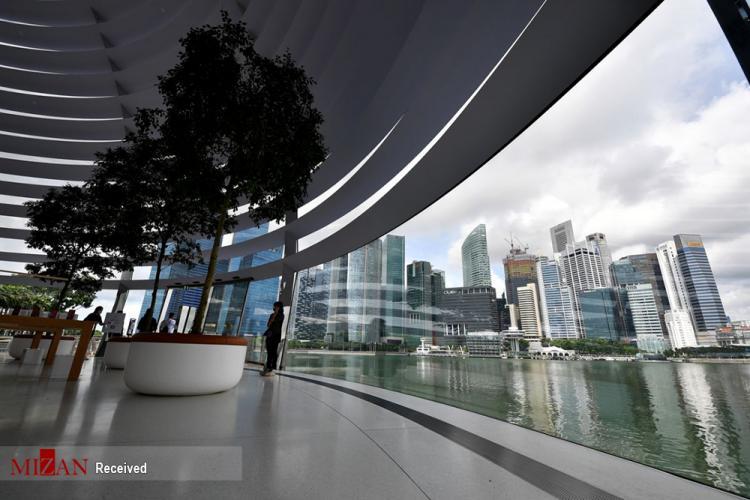 تصاویر فروشگاه اپل,تصاویر فروشگاه شناور اپل در سنگاپور,عکس فروشگاه اپل در سنگاپور