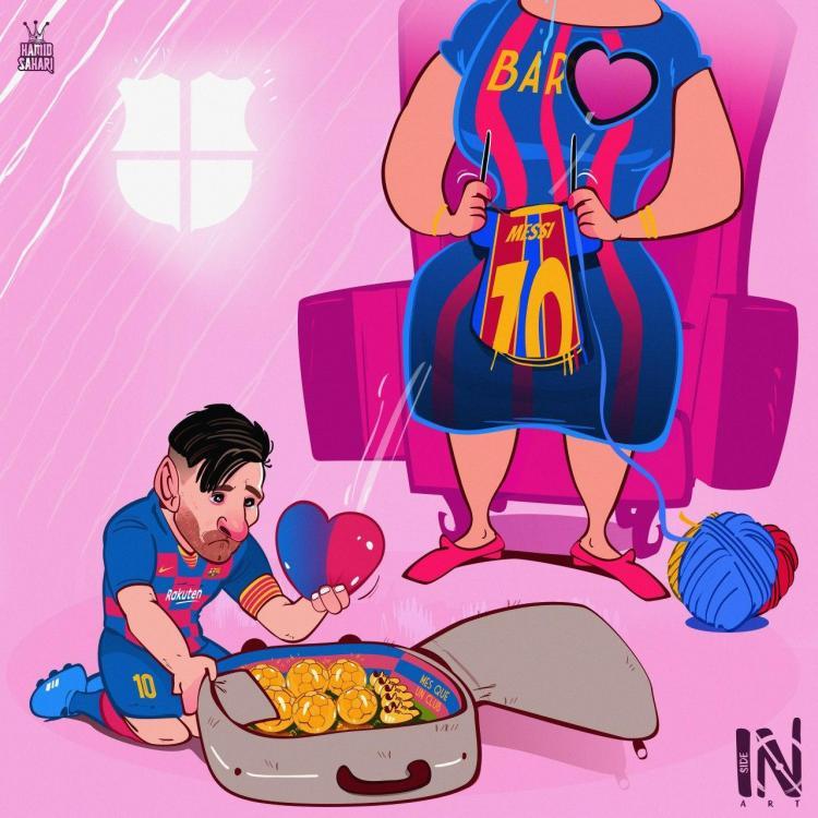 کاریکاتور در مورد جدایی مسی از بارسلونا,کاریکاتور,عکس کاریکاتور,کاریکاتور ورزشی