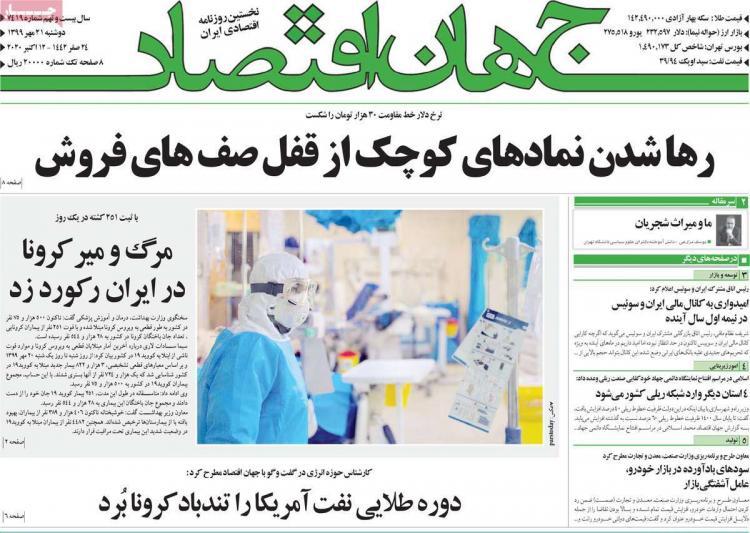 عناوین روزنامه های اقتصادی دوشنبه 21 مهر 1399,روزنامه,روزنامه های امروز,روزنامه های اقتصادی