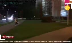 فیلم/ فرار یک معترض با تاکسی در بلاروس!