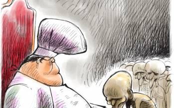 کاریکاتور در مورد مشکلات مردم ایران و پیروی از مسئولان