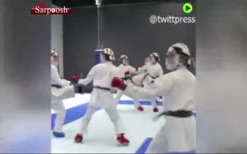 فیلم/ کلاه مخصوص کاراته کاران در عصر کرونا