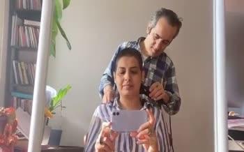 فیلم/ محمد یعقوبی برای همدردی با همسرش آیدا کیخایی موهای خود را تراشید