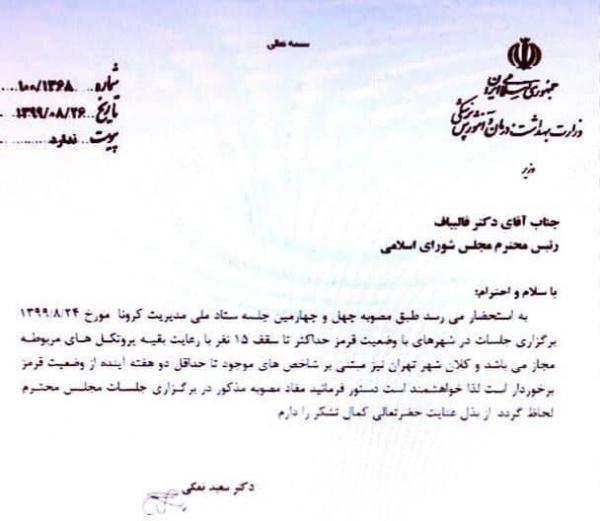 بی توجهی قالیباف به نامه وزیر بهداشت