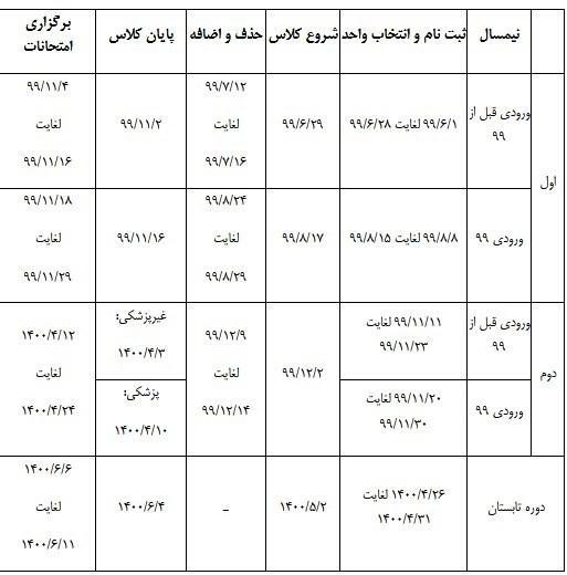تقویم جدید آموزشی دانشگاه آزاد