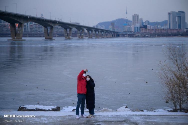 تصاویر یخ زدن رودخانه هان در کره جنوبی,عکس های رودخانه هان,تصاویر رودخانه هان کره جنوبی