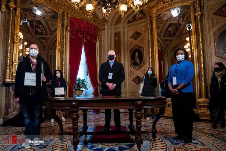 تصاویر آماده شدن کاخ سفید برای مراسم تحلیف بایدن,عکس های تمرین برای مراسم تحلیف بایدن,تصاویر تمرین شرکت کنندگان در جشن مراسم تحلیف جو بایدن