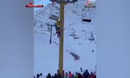 فیلم/ سقوط پدر و دختر از تلهسیژ پیست اسکی دربندسر