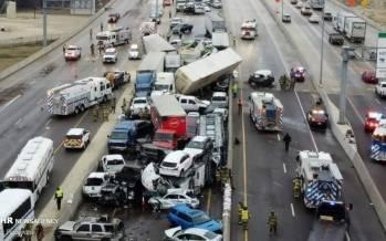 تصاویر تصادف زنجیرهای,عکس های تصادفات در آمریکا,تصاویر تصادف در تگزاس