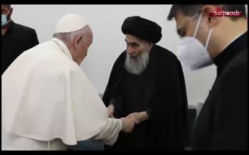 فیلم/ لحظه خداحافظی آیتالله سیستانی با پاپ فرانسیس