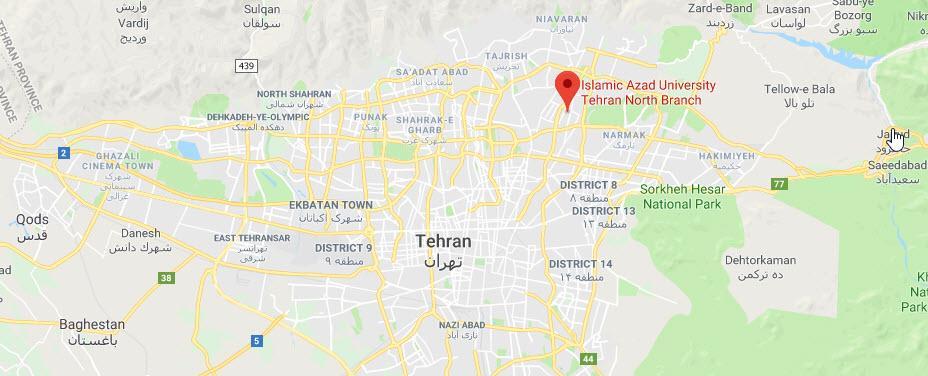 آدرس دانشگاه آزاد اسلامی تهران شمال,دانشگاه آزاد تهران شمال,مکان دانشگاه آزاد تهران