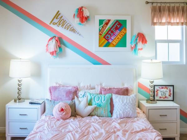 دیزاین اتاق خواب دخترانه,طراحی داخلی اتاق خواب دخترانه,اتاق خواب دخترانه