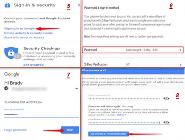 نحوه تغییر رمز جی میل,تغییر رمز جیمیل در گوشی,راه های تغییر رمز جی میل